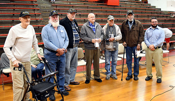 John P. Cleary   The Herald Bulletin<br /> These military veterans were recognized at the Veterans Day program at Liberty Christian secondary campus Thursday. They are James Ice, Jim Harlan, Andrew Greenlee Sr., Terry Boldizsar, Bob Boone, Anthony Dalton, and Paul Ward.