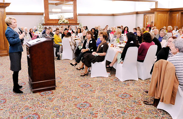 Don Knight   The Herald Bulletin<br /> Ivy Tech president Sue Ellspermann speaks during the Women in Philanthropy luncheon at the Anderson Country Club on Thursday.
