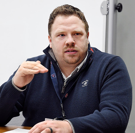 John P. Cleary | The Herald Bulletin<br /> Madison County Dispatch Center director Brent Jensen talks about the advantages of having the new Power Phone system implemented into their system.
