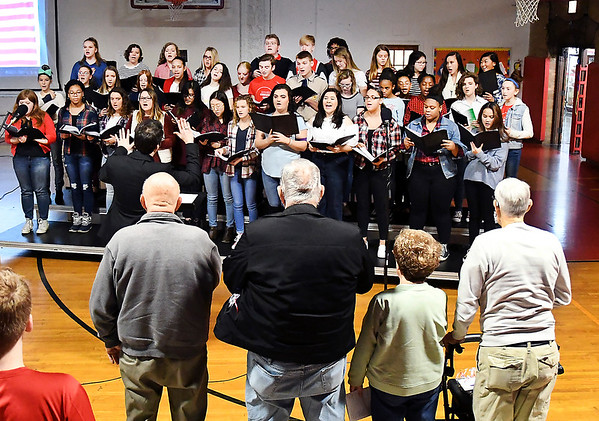John P. Cleary   The Herald Bulletin<br /> Veterans Day program at Liberty Christian secondary campus. The Liberty Christian choir sings the different military theme songs.