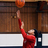 John P. Cleary | The Herald Bulletin<br /> Dontrez Fuller, 12, shoots the ball as he competes in the speed lay-up contest at the Parks and Recreation Department's 2018 Turkey Shoot Out at the Geater Center Wednesday. Fuller won the  contest after an overtime shootout with Jay'Lin Barnes.