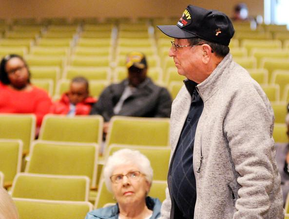 Don Knight   The Herald Bulletin<br /> Navy veteran Gene Delawter speaks during Veterans Appreciation Day at the City Building on Saturday.