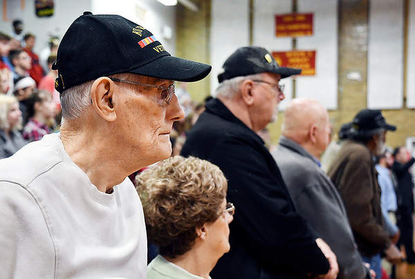 John P. Cleary   The Herald Bulletin<br /> Korea Army veteran James Ice stands with fellow veterans during the Veterans Day program at Liberty Christian secondary campus.