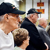 John P. Cleary | The Herald Bulletin<br /> Korea Army veteran James Ice stands with fellow veterans during the Veterans Day program at Liberty Christian secondary campus.