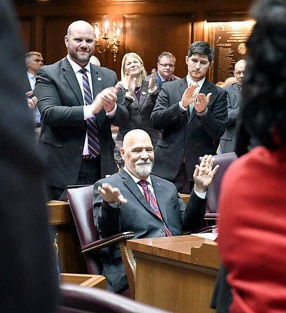 John P. Cleary | The Herald Bulletin<br /> During Organization Day at the Indiana Statehouse Tuesday House members gave a standing ovation to State Rep. Tim Brown, R-Crawfordsville, who was injured in a serious motorcycle crash in September.