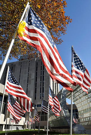 John P. Cleary   The Herald Bulletin<br /> Field of Honor flags by the Anderson Noon Exchange Club is on display at the Anderson City Building through November 13th.