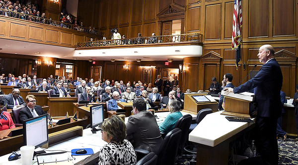 John P. Cleary   The Herald Bulletin<br /> Indiana Speaker of the House Brian Bosma addresses House members on Organization Day Tuesday setting a challenging tone for the upcoming session.