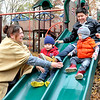 John P. Cleary | The Herald Bulletin<br /> Ronda Rhea helps her grandchildren, Conner and Cylas, come down the slide as her son Jordan Vasquez slides down behind them as they play at Shadyside Park last week.