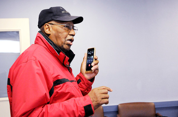 Don Knight | The Herald Bulletin<br /> James Warner fields a call about the Gospel Highlight Radio Broadcast's 36th annual Community Thanksgiving Day Dinner. Last year, Warner said, 1,380 meals were given away, and he hopes to match or exceed that number this year.