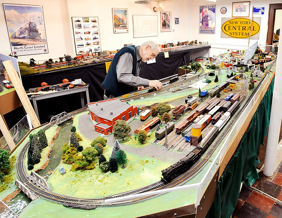 John P. Cleary   The Herald Bulletin  THB file photo<br /> Roger Hensley works on the HO scale model train layout at the Madison County History Center in this THB file photo.