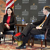 John P. Cleary | The Herald Bulletin<br /> Former U.S. Senator Kelly Ayotte visited Anderson University Wednesday where she met with students then had a public forum at Reardon Auditorium with AU president John Pistole.