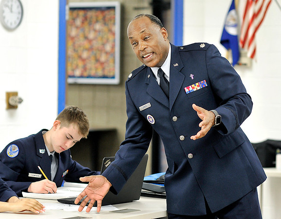 John P. Cleary | The Herald Bulletin<br /> Air Force Reserves veteran Obadiah Smith Jr. is the senior aerospace science instructor and senior officer for the Junior ROTC program at Anderson Preparatory Academy.