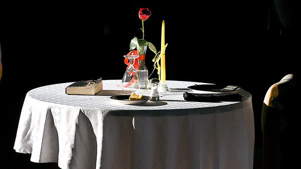 John P. Cleary | The Herald Bulletin<br /> Veterans Day program at Liberty Christian secondary campus. The POW/MIA Table was set explaining what each item represented.