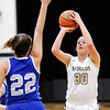 Don Knight | The Herald Bulletin<br /> Daleville's Audrey Voss shoots as she is guarded by APA's Olivia Alderman as the Broncos hosted the Jets Saturday.