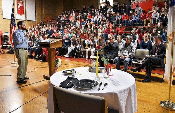 John P. Cleary   The Herald Bulletin<br /> The guest speaker for the Veterans Day program at Liberty Christian secondary campus Thursday morning was US Air Force veteran Paul Ward.