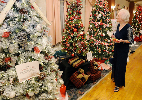 Don Knight | The Herald Bulletin<br /> Ann Hardacre looks at the trees on display during the Paramount's Festival of Trees Gala on Saturday.