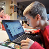 John P. Cleary | The Herald Bulletin<br /> Ethan Lakas, 8, a third-grader at Erskine Elementary School, does his lessons on his cromebook at home during Anderson Community Schools' eLearning day Thursday.