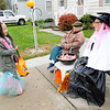 Don Knight | The Herald Bulletin<br /> Dressed as a mermaid Imiah Scott, 6, gets candy from Arlene Dowling and her daughter Renee Reads, right, on Vinyard Street in Anderson on Tuesday. Reads lives in the county where she doesn't get any kids coming by for candy so she hands out candy at her mom's house.