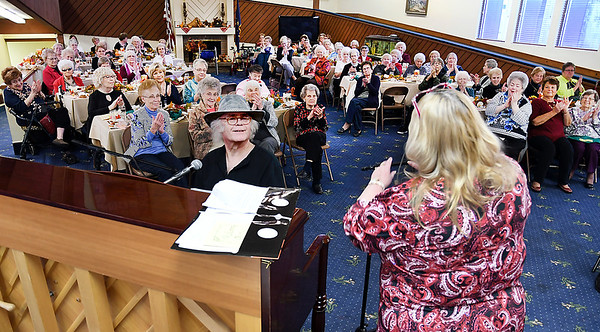 John P. Cleary | The Herald Bulletin<br /> The Isabel Society held their Fall luncheon Wednesday at the Harter House where guests were entertained by Martha Green and Dan Daugherty.<br /> The Isabel Society is a charitable organization that helps support residents of United Faith Housing.
