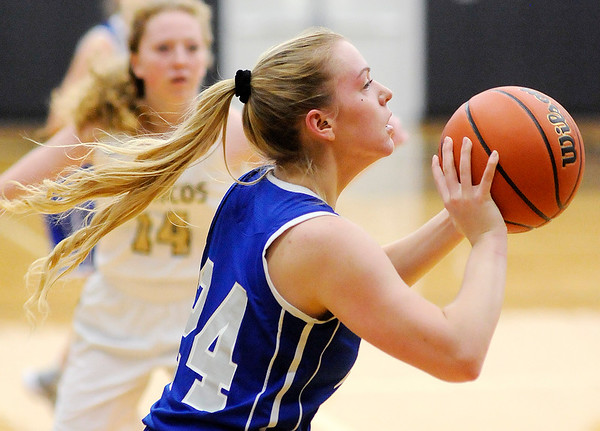 Don Knight | The Herald Bulletin<br /> APA's Savannah Prewett shoots the ball as the Jests traveled to Daleville to face the Broncos on Saturday.