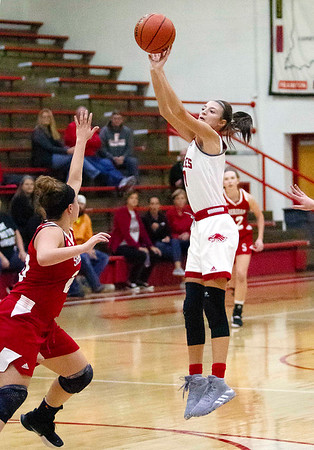 Frankton's Addie Gardner makes a jumper from the top of the key Tuesday night.