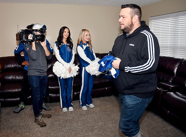 Veteran Brian Sawyer gets a surprise from the Colts, Bob's Discount Furniture and Operation Homefront of all new furniture for his Anderson home.