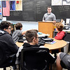 Elwood High School English teacher Shane Arnold in his classroom.