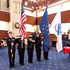Anderson High School's NJROTC presents the colors during a tribute to veterans at Harter House on Friday.