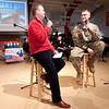 Liberty Christian Superintendent Jay McCurry interviews Pvt. Gabriel Toppin during the Veteran's Day Chapel at Liberty Christian Elementary School on Friday. A senior at Liberty Christian Toppin is also a member of the Indiana National Guard.