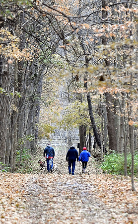 With the temperatures getting back close to normal these folks enjoyed an afternoon walk with their dogs under the canopy of trees along trail 5 in Mounds State Park Wednesday.