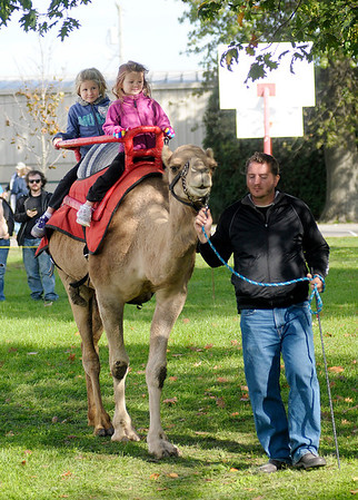 From left, Trinity and AriAnna Fetters ride the dromedary camel Josie as she is led by Dan Wallen during the Small Town USA Festival in Alexandria on Saturday.