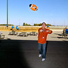 "Hoosier Park held a celebration party for their employees Monday for winning 22 1st place ""Best Of""  awards from Midwest Gaming & Travel magazine.  Todd Berendji, director of casino operations, gives the football toss a try."