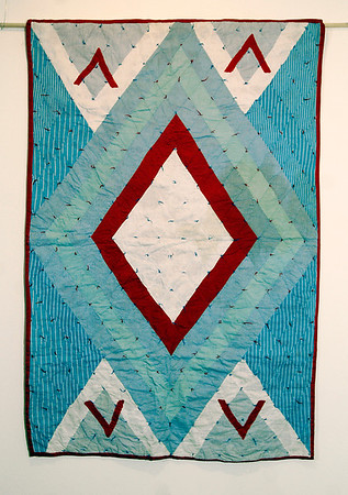 World War II quilt exhibit at the Quilters Hall of Fame in the Marie Webster House located in Marion.  This is CHILD'S VICTORY QUILT.