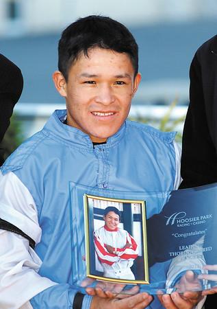 Fernando De La Cruz was honored for winning the Leading Thoroughbred Jockey title for the 2012 meet.