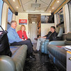 """On the National Federation of Independent Business """"I Built My Business"""" bus is Anderson small business owner John Raine, Barbara Quandt, NFIB director for Indiana, and Jack Mozloom, senior media manager for NFIB's Eastern region.  The bus was in Anderson Wednesday on a seven-state tour."""