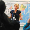 Kandi Floyd, of Alternatives, Inc., give a dating violence presentation to classes at Anderson High School Monday.