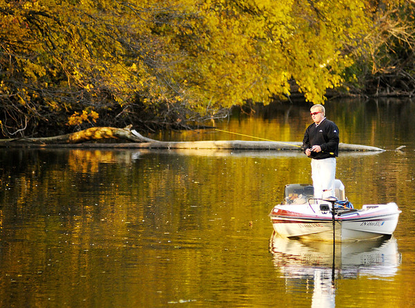 An angler tries his luck at Shadyside park on Monday evening.
