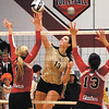 Madison Grant senior Hunter Wise scores for the Argylls at the IHSAA Volleyball Regional Tournament against Wapahani High School.