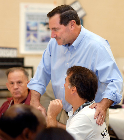Democratic Senate candidate Joe Donnelly greets people attending a fundraiser for him at the UAW Union Hall in Anderson Saturday afternoon.