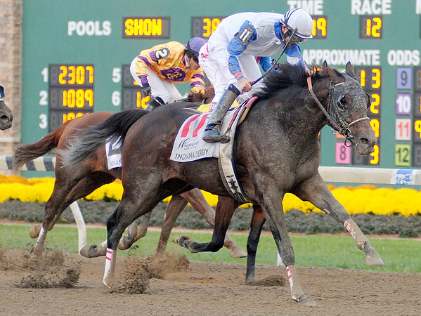 Neck N Neck ridden by Brian Joseph Hernandez Jr. wins the 18th running of the Indiana Derby at Hoosier Park on Saturday.