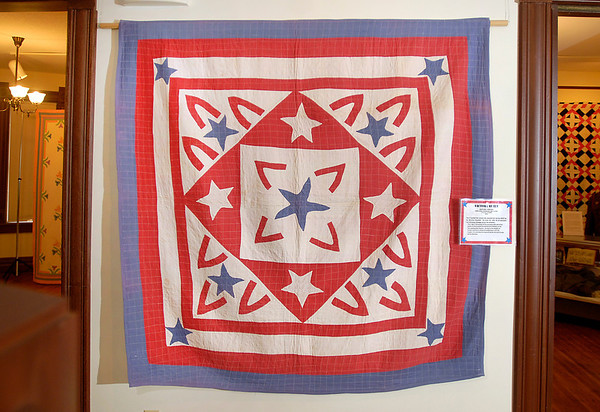 World War II quilt exhibit at the Quilters Hall of Fame in the Marie Webster House located in Marion.  This is VICTORY QUILT.