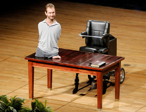 Nick Vujicic speaks to students during Chapel at Anderson University on Thursday. Vujicic will be speaking at Anderson High School during worship services open to the public scheduled for 4 and 7 p.m. on Saturday.