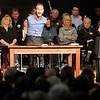 Nick Vujicic shares his story and his faith to a full gym at Anderson High School in the first of two worship services held at the high school on Saturday. Vujicic was born without limbs in Melbourne Austrailia.