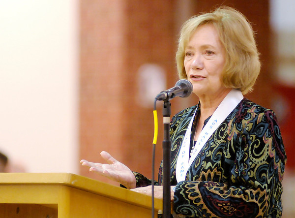 Beverley Pitts speaks during her induction into the ACS Hall of Fame during a banquet at Anderson High School on Friday. ACS inducted 14 new alumni into their Hall of Fame.