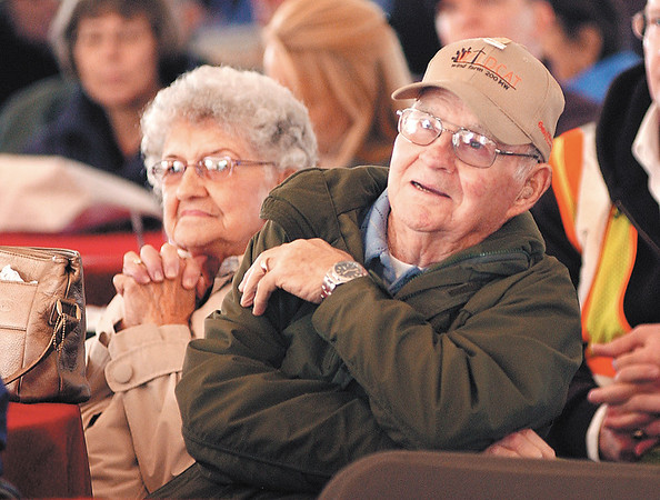 E.ON Climate & Renewables held a celebration ceremony for their Wildcat I Wind Farm and all the property owners that they have dealt with during the development.  Here Barbara and Joe Peeper of Elwood listen to the program during the celebration.  They live north of Elwood and have turbines on their property.