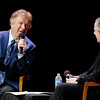 Bill Gaither as a question and answer with Todd Faulkner during AU's homecoming chapel Tuesday.