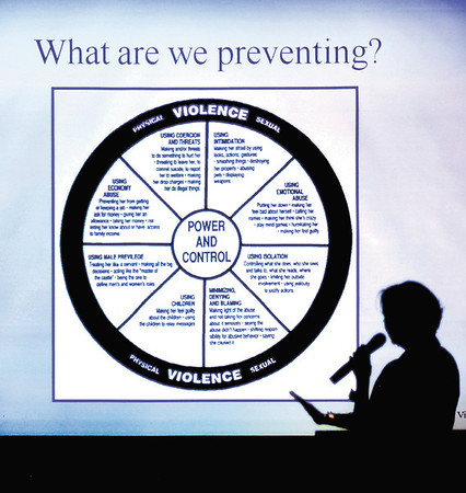 Colleen Yeakle, coordinator of the Indiana Coalition Against Domestic Violence's prevention initiative, was the keynote speaker for the domestic violence forum.