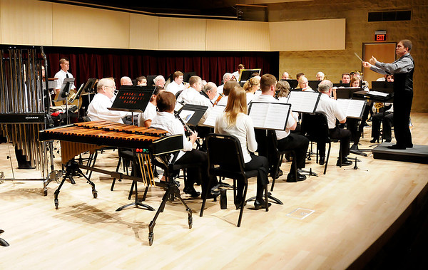 """Conductor John Huntoon leads the Anderson University Community Band in their performance of """"An Unending Legacy"""" as the band performs for the first time in the York Performance Hall on Tuesday."""
