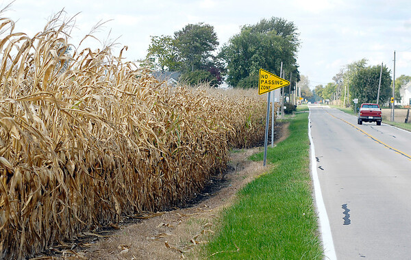 This section of corn field and old State Road 132 east of County Road 800 west is part of the strip annexation approved by the Lapel Town Council that runs from the southeast corner of Lapel to Pendleton.