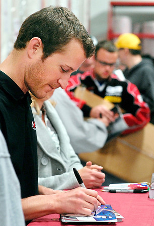 NASCAR driver Kasey Kahne made an appearance at the grand opening of Ollie's Bargain Outlet at 1634 S. Scatterfield Road in Anderson Wednesday morning to sign autographs for fans.